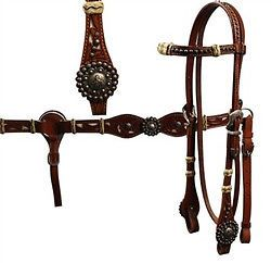 Barrel Racer Concho Horse Tack Set w Rawhide Headstall Breast Collar Reins