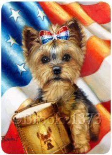Yorkshire Terrier Yorkie Dog Art Mouse Pad Liberty Independence Day w USA Flag