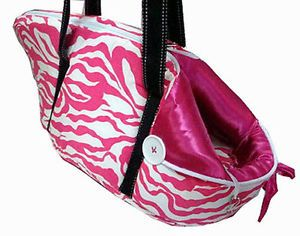 Pink Zebra Pets Baby Dog Cat Carrier Tote Bag x Small