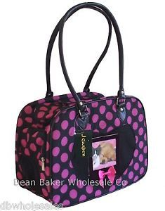 Large Polka Dot Small Dog Cat Soft Sided Pet Carrier Black Pink