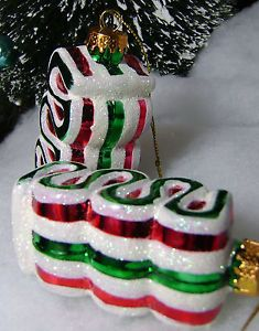 2 Glass Red White Green Peppermint Ribbon Candy Christmas Tree Ornaments Mica