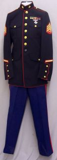 USMC Marine Corps Sgt Dress Blue Uniform for Collector or Halloween Costume 40""
