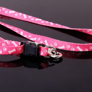 Nylon Bone Paws Print Small Small Dog Pet Leash Lead Harness Pink Supplies