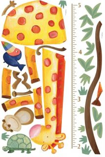 New Jungle Animals Growth Chart Decals Giraffe Monkey Wall Stickers Kids Decor