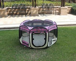 New Large Pink Plaid Pet Dog Cat Tent Playpen Exercise Play Pen Soft Crate