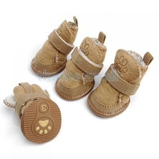 Tan Cozy Pet Dog Warm Walking Shoes Boots Apparel 3