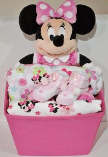 Minnie Mouse Luxurious Disney Baby Girl Shower Hamper Gift Set Brand New