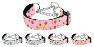 Roses Nylon Martingale Chain Limited Slip Loop Pet Dog Collar