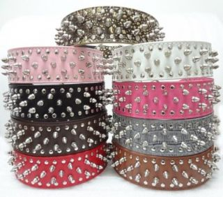 Leather Dog Collar Spikes Studs Collar Pit Bull Terrier Collars 9 Color 4 Size