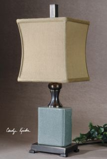 Pale Blue Crackled Porcelain Buffet Table Lamp Square Bell Shade Bronze Metal
