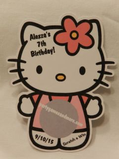 Personalized Hello Kitty Birthday Party Baby Shower Scratch Off Lotto Card Game