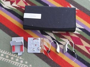 Pair Starkey Hearing Aids Hard Side Storage Case Hear Clear Waxfilters Batteries
