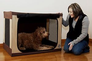 Travel Lite Soft Portable Crate Compact Cage Folding Pet Dog Cat Pen w Bed Mat