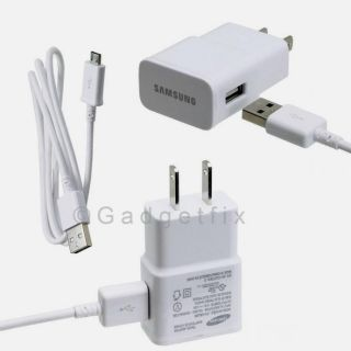 US White Micro USB Data Cable Home Wall Charger for Samsung Galaxy Note 3