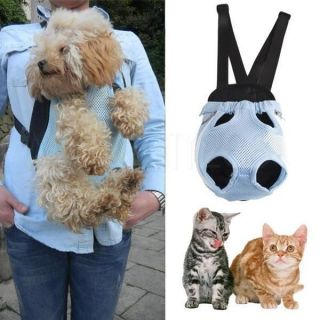 Travel Soft Nylon Pet Dog Cat Carrier Backpack Sling Tote Front Net Bag Blue L