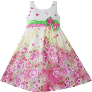 Girls Dress Pink Flower Green Bow Tie Princess Party Kids Clothes Size 4 12
