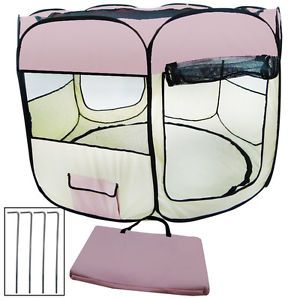 "X Large 57"" Portable Pink 2 Door Small Animals Puppy Dog Cat Play Kennel Playpen"