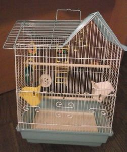 Small Medium Size Wire Bird Cage with Food Dish Ladder Mirror Bell 19x13x11