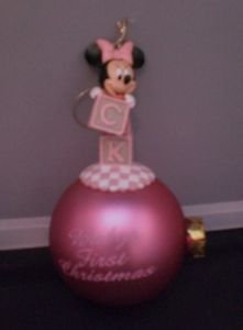 Disney's Minnie Mouse Christmas Ornament Baby's First Christmas Blocks