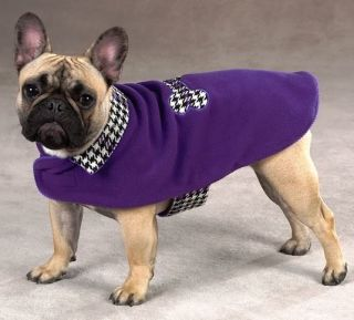 East Side Collection Ultra Violet Houndstooth Dog Coat Jacket Velcro Easy On