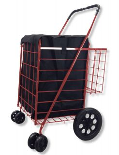 Shopping Cart Jumbo Folding Swivel Wheel Extra Basket Grocery Black Blue Red