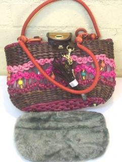 Small Dog Cat Basket Tote Hand Bag Pet Carrier Fuschia