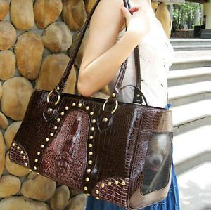 Faux Crocodile Dark Brown Leather Pet Carrier Small Dog Cat Airline Tote Purse
