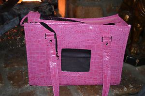 Chelsea Paws Pink Faux Alligator Snake Leather Small Pet Dog Carrier Purse