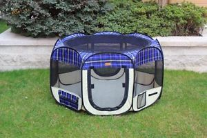 New Large Blue Plaid Pet Dog Cat Tent Playpen Exercise Play Pen Soft Crate