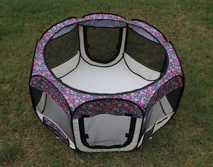 New Medium Fashion Flower Pet Dog Cat Tent Playpen Exercise Play Pen Soft Crate