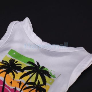 Pet Dog Hawaii Coconut Tree Pattern Sleeveless T Shirt Clothes Apparel Size XS