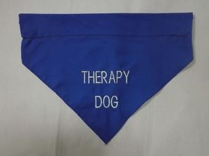 Therapy Dog Bandana Blue to Go w Your Vest Service Patch Xlent for Hot Weather
