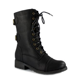 Women's Military Combat Boot Motorcycle Buckles Lace Army Wild Diva Timberly 02