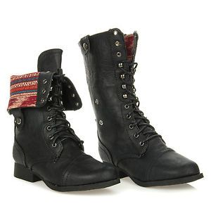 New Wild Diva Fold Down Plaid Lace Up Military Combat Boot Mid Calf Jetta 25 Blk