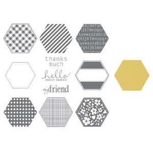 Stampin Up Six Sided Smapler Clear Mount Stamp Set Hexagon Punch Bundle