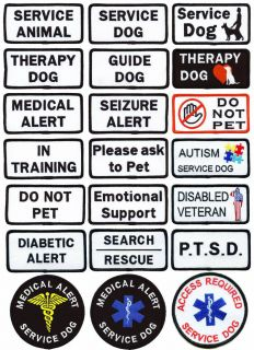 Service Dog Patch Therapy Dog Choose from 21 Different Service Dog Patches