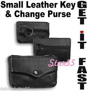 Mens Womens Black Brown Leather Zipped Key Ring Case Coin Change Purse Wallet