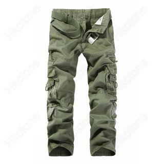 Men Casual Multi Pocket Cargo Pants Green Khaki Black Coffee Gray W28 W38