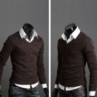 2013 New Fashion Men Slim V Neck Pullover Casual Sweater Bottoming Shirt 6 Color