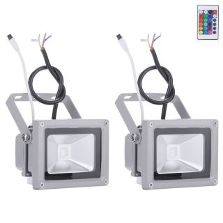 2X 10W RGB Color Remote Control LED Spotlight Flood Light Outdoor Waterproof New