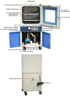 570°F Max 2 Zone Vacuum Degassing Chamber Drying Oven w Dual Stage Vacuum Pump