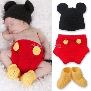 Newborn 12M Baby Boys Girl Mickey Mouse Crochet Knit Costume Outfit Beanie Photo