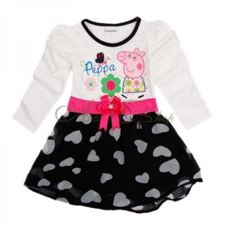 Peppa Pig Baby Girl Kid Costume Long Sleeve Heart Print Skirt Top Dress Sz 4 5