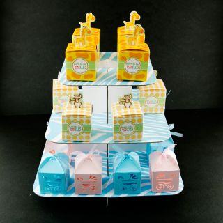 Blue Baby Carriage Favor Candy Box Party Baby Shower Decorations 36pcs