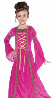 Kids Girls Pink Medieval Princess Halloween Fancy Dress Costume