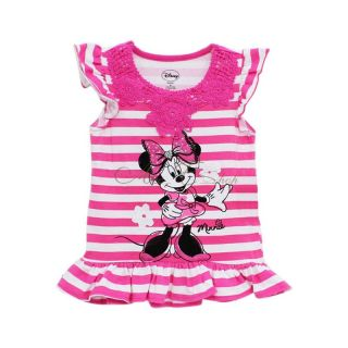 Pink Girl Minnie Mouse Costume Striped Ruffle Trim Top Shirt T Shirts 4 5 6 6X