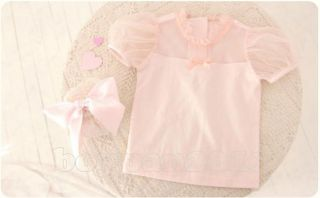 Lovely Kids Toddlers Girls Short Sleeves Cotton Tulle Tops Shirts Ages 1 6Y