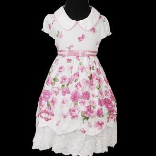 KD209 Baby Girl White Pink Party Flowers Lace Dress 1 4T