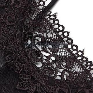 Sexy Women Backless Lace Sheer Lingerie Dress Intimate Apparel WG String Black