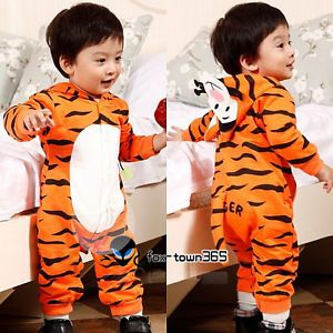 Boys Baby Kids Tiger Hoodie Romper Fleece Animal Play Suit Outfit Fall Costume